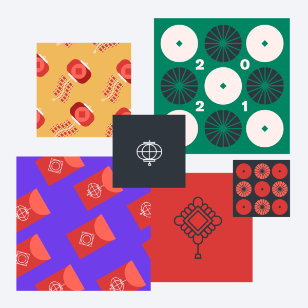 A collage of six squares showing various illustrations and patterns related to Lunar New Year