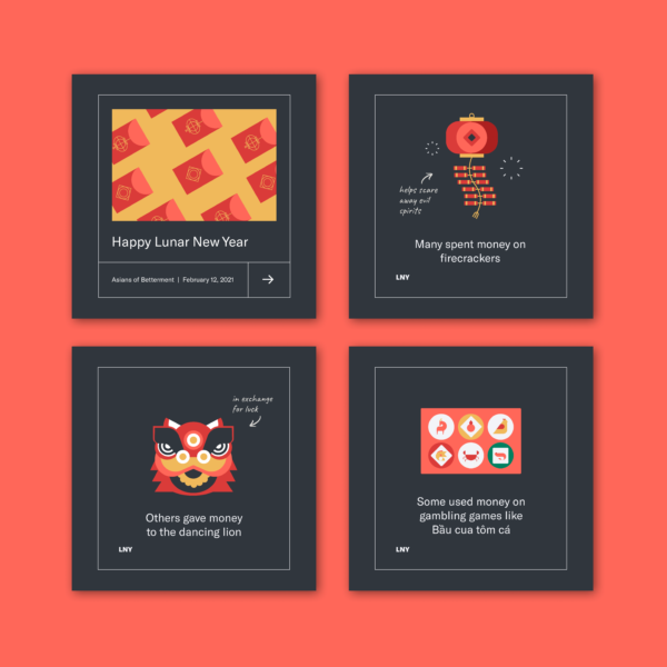 Four square images showcasing the Betterment Instagram post on Lunar New Year